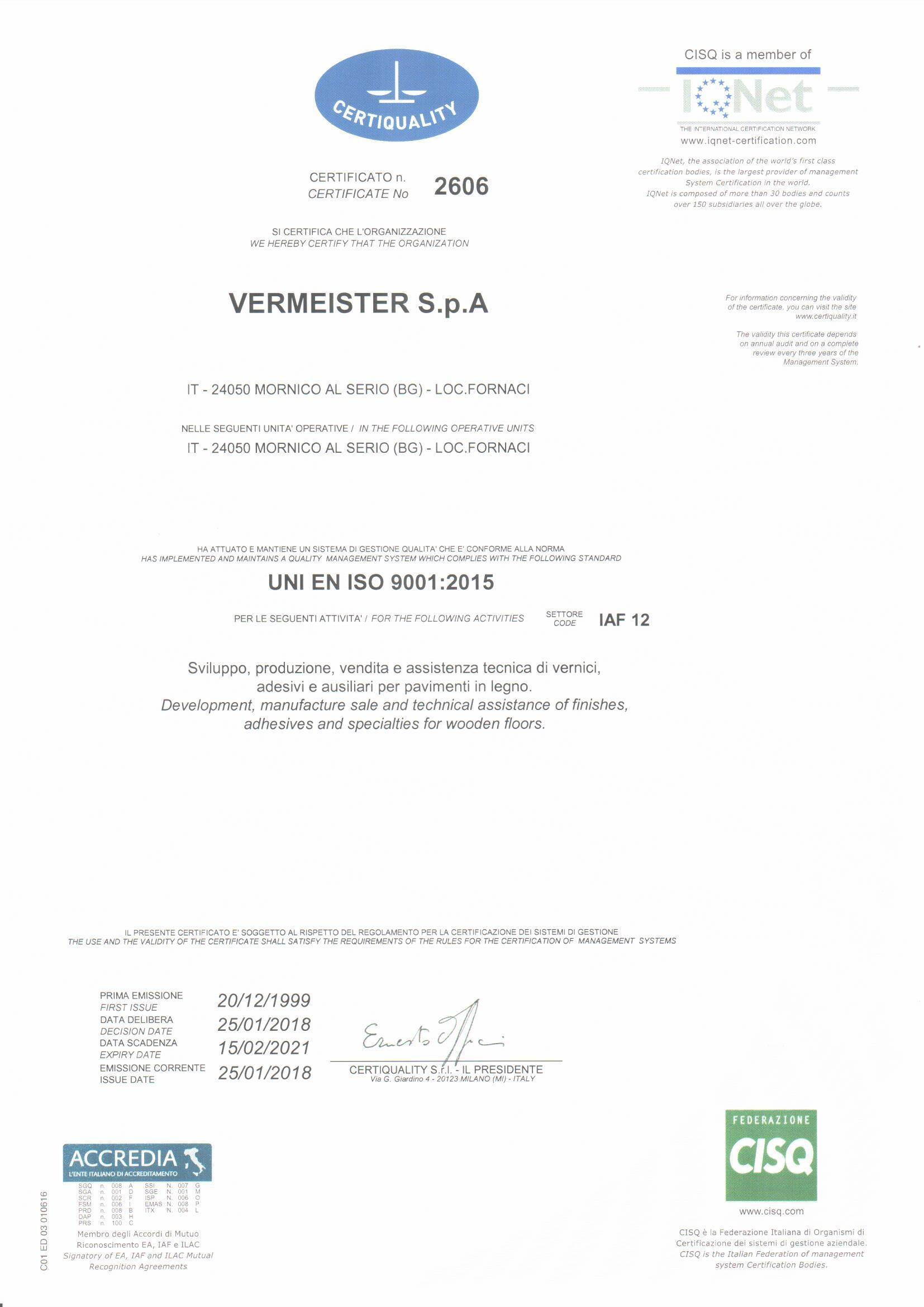 联合国欧盟ISO90012015质量管理